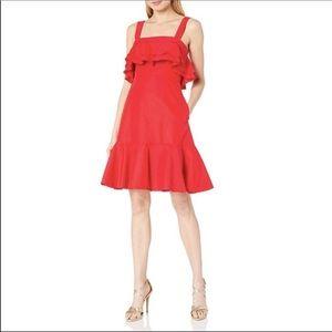 Jill Jill Stuart Frida Ruffle Hem Red Dress Size 0